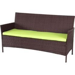 3-Sitzer Poly-Rattan Gartenbank Hamar, Sitzbank ~ braun-meliert, Kissen grün