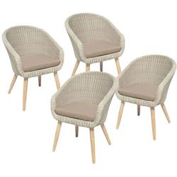 4x Garten Stuhl inkl. Auflage Stühle Akazie Holz Rattan Optik grau Veranda