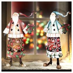 etc-shop LED Dekolicht, Weihnachtsmänner Set Steh Lampen Weihnachten Fensterbank Deko Beleuchtung blau