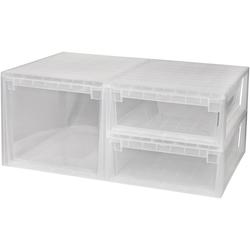 KREHER Aufbewahrungsbox 1x 50 Liter, 2x 22 Liter, mit Schubladen 3er Set weiß