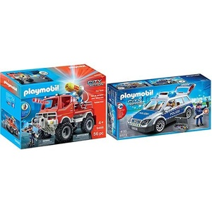 PLAYMOBIL 9466 Spielzeug-Feuerwehr-Truck & 6873 - Polizei-Einsatzwagen