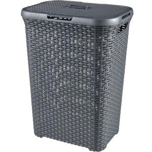 CURVER STYLE Wäschebox, 60 Liter, Wäschetonne aus Kunststoff, Farbe: anthrazit