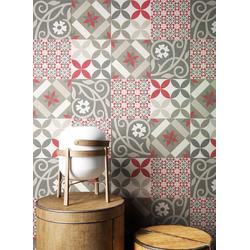 Newroom Vliestapete, Rot Tapete Orientalisch Fliesen - Fliesentapete Fliesenoptik Grau Weiß Grafisch Modern Mosaik Kacheln für Wohnzimmer Schlafzimmer Küche rot