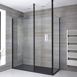 Eck Walk-In Duschabtrennung mit Duschtasse im Schiefer-Effekt