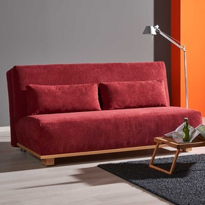 Schlafcouch in Rot Stoff Eiche Massivholz