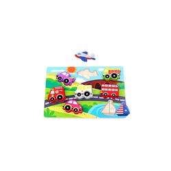 Tooky Toy Puzzle Chunky Puzzle Transport/Tiere aus Holz - Baby-Spielzeug ab 1 Jahr Motorik-Spiel, Puzzleteile