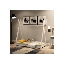 Merax Kinderbett, Tipi Kinderbett aus Kiefernholz Zelt Holz mit Lattenrost für Kinder- und Jugendzimmer weiß