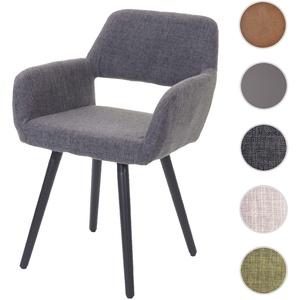 Esszimmerstuhl HWC-A50 II, Stuhl Küchenstuhl, Retro 50er Jahre Design ~ Textil, grau, dunkle Beine
