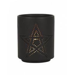 Horror-Shop Kerzenständer Schwarzer Teelichthalter mit Pentagram Cut Out