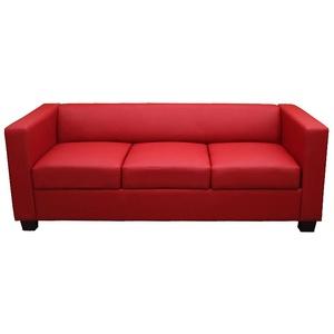 3er Sofa Couch Loungesofa Lille, Leder/Kunstleder rot