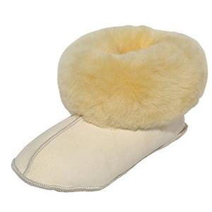 Hollert Lammfell Hausschuhe - BETTSCHUHE Unisex Hüttenschuhe aus medizinischen Schaffell Größe EUR 43