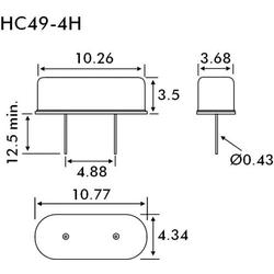 EuroQuartz Quarzkristall QUARZ HC49/US HC49/4H 12.000MHz 18pF (L x B x H) 3.68 x 10.26 x 3.5mm