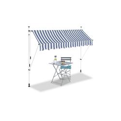 relaxdays Klemmmarkise Klemmmarkise blau weiß 250 cm x 120 cm x 300 cm