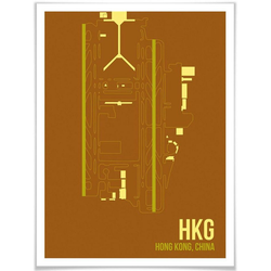 Wall-Art Poster Wandbild HKG Grundriss Hong Kong, Grundriss (1 Stück), Poster, Wandbild, Bild, Wandposter 50 cm x 60 cm x 0,1 cm