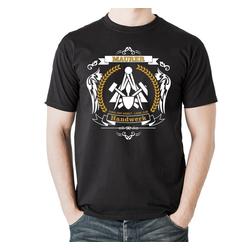 elbedruck T-Shirt Maurer Zünfte Zunftsymbol, Heavy T-Shirt mit Zunftlogo XXL