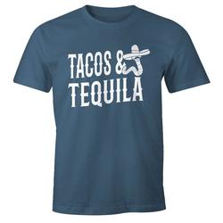MoonWorks Print-Shirt Herren T-Shirt Tacos & Tequila Wurm Sombrero Tequilla Mexikanisch Moonworks® mit Print blau L