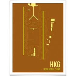 Wall-Art Poster Wandbild HKG Grundriss Hong Kong, Grundriss (1 Stück), Poster, Wandbild, Bild, Wandposter 60 cm x 80 cm x 0,1 cm
