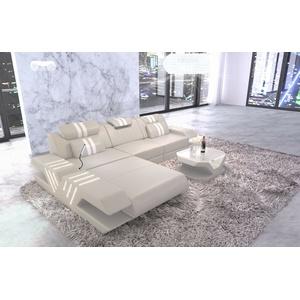 Eckcouch Ledersofa Design VENEDIG L Form Ledercouch Ottomane beige Leder Couch