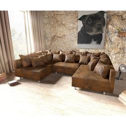 DELIFE Wohnlandschaft Clovis, Braun Antik Optik Wohnlandschaft modulares Sofa braun 300 cm x 67 cm x 185 cm