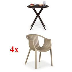 4x plastikstühle lounge, beige + plastiktisch coffee time gratis