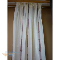 Dekoschal mit Band Gardine Vorhang beige rot Höhe 2,38 m, fertig genäht