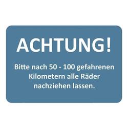 2 Rollen je 250 Kundendienst-Aufkleber »50-100 km - Räder nachziehen« Blau, EICHNER, 6x4 cm
