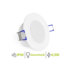 linovum LED Einbaustrahler WEEVO extra flacher LED Einbaustrahler Spot 4000K 6,5W 230V für Bad & Außen IP44