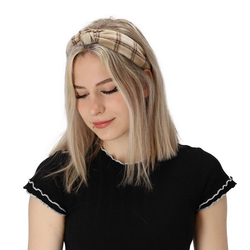 halsüberkopf Accessoires Haarband Haarband Karo, 1-tlg., modisches Haarband beige