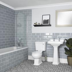 Bad Set mit Einbaubadewanne, WC und Säulenwaschbecken - Richmond, von Hudson Reed