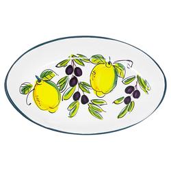 Lashuma Servierplatte Zitrone Olive, Keramik, Salatplatte oval, handgemachter Servierteller 19 cm x 32 cm x 4 cm