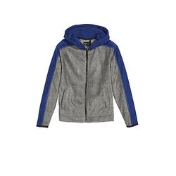 Fleece Jacke mit PlusMinus Rückenprint Sweatjacken grau Gr. 122/128 Jungen Kinder
