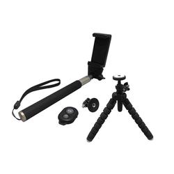Ultron Selfie Kit Selfiestick (Selfie, Zubehör Set, 1m Selfie Stick, Bluetooth, Kamera, GoPro Adapter, Stativ, Handy, schwarz)