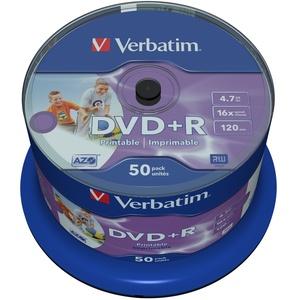 Verbatim DVD+R Wide Inkjet Printable 4.7GB I 50er Pack Spindel I DVD Rohlinge bedruckbar I 16-fache Brenngeschwindigkeit & Hardcoat Scratch Guard I DVD-R printable I DVD leer I Rohlinge DVD