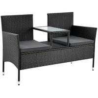 Juskys Monaco Gartenbank 133 x 63 x 84 cm schwarz inkl. Tisch