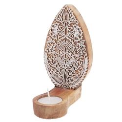 Guru-Shop Windlicht Indischer Teelichthalter Holzstempel - Modell 2