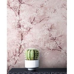 Newroom Vliestapete Bene Muster 1, Rosa Tapete Leicht Glänzend Floral - Blumentapete Mustertapete Weiß Grau Baum Modern für Schlafzimmer Wohnzimmer Küche rosa