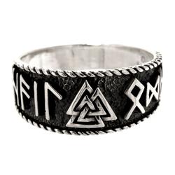Kiss of Leather Silberring Ring Wotansknoten Valknut Hail Odin Wotan aus 925 Sterling Silber, Gr.52-74 56