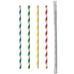 Papstar Pure Trinkhalme, Papier, Trinkröhrchen aus Papier, 1 Packung = 100 Stück, Stripes, einzeln gehüllt