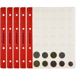 Münzhüllen, 35 Fächer auf jeder Sammelhüllen Für kleine Münzen bis Ø 23mm. 10er Pack. Für PELLER'S Münzalbum M.