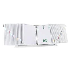 Tischständer A5 mit 50 Sichttafeln weiß, Tarifold, 70x20x25 cm