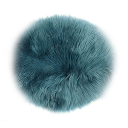 Sitzkissen LAMMFELL blau(D 34 cm)