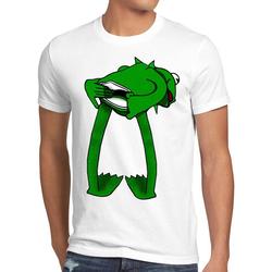 style3 Print-Shirt Herren T-Shirt Kermit Frosch handpuppe weiß XL