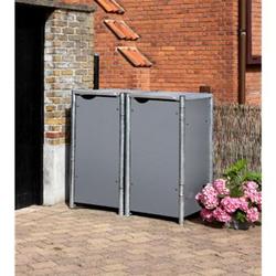 Hide Mülltonnenbox 140l Kunststoff, 2er Box, grau
