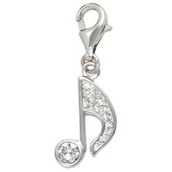 JOBO Charm-Einhänger Note, 925 Silber mit Kristallsteinen