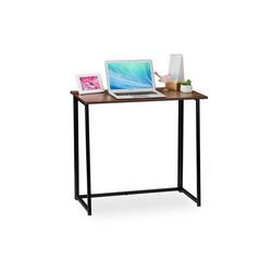 relaxdays Schreibtisch Schreibtisch klappbar braun