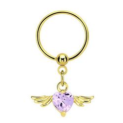 Adelia´s Intimpiercing Intimpiercing, Intimpiercing Ring PVD Gold Anhänger mit Flügel und Herz