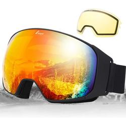 Elegear Skibrille, (1-St), Skibrille Damen Skibrille Herren Ski Goggles Snowboardbrille Anti-Fog 100% UV400 Schutz Verspiegelt Schneebrille Helmkompatible Skibrille für Snowboard Skifahren rot
