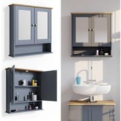 Vicco Wandspiegel Bianco Grau Badspiegel mit Ablage 2 Türen 58x56cm Hängespiegel Spiegel für Badezimmer im Landhausstil