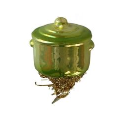 INGE-GLAS® Christbaumschmuck INGE-GLAS Weihnachts-Clip Koch-Topf grün (1-tlg) grün