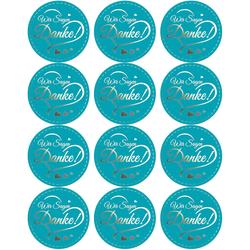 12 Sticker Wir sagen Danke! Aufkleber zum Danke sagen für Gastgeschenk Geschenkdeko blau